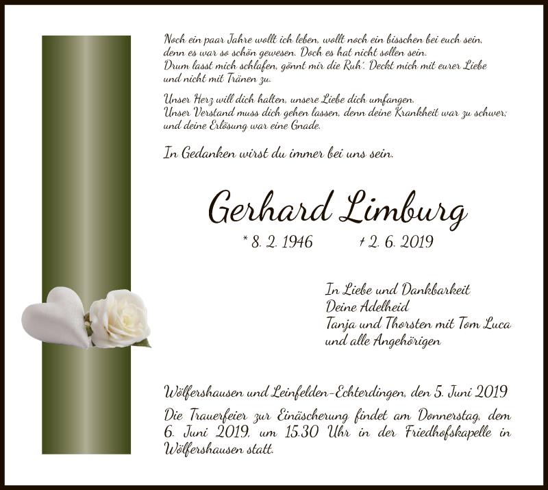 Traueranzeige für Gerhard Limburg vom 05.06.2019 aus Hersfeld