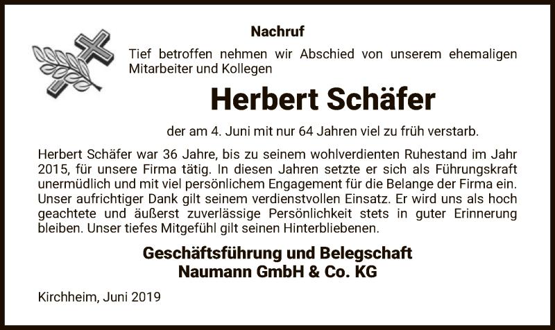 Traueranzeige für Herbert Schäfer vom 13.06.2019 aus Hersfeld