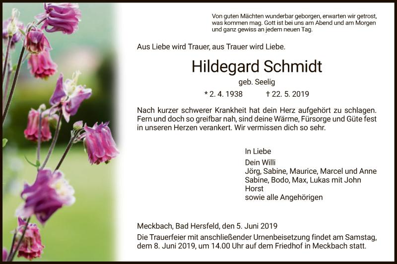 Traueranzeige für Hildegard Schmidt vom 05.06.2019 aus Hersfeld