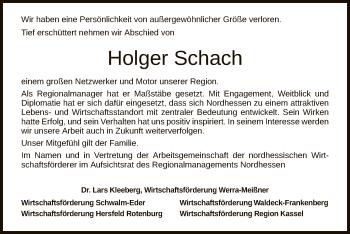 Traueranzeige für Holger Schach vom 01.06.2019 aus Hersfeld