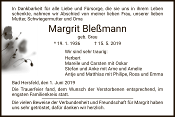 Traueranzeige für Margit Bleßmann vom 01.06.2019 aus Hersfeld