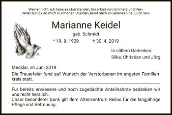 Traueranzeige für Marianne Keidel vom 01.06.2019 aus Hersfeld