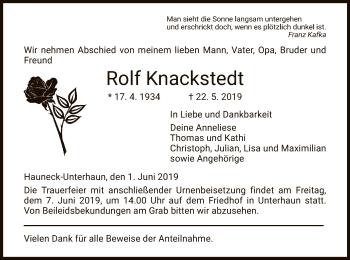 Traueranzeige für Rolf Knackstedt vom 01.06.2019 aus Hersfeld