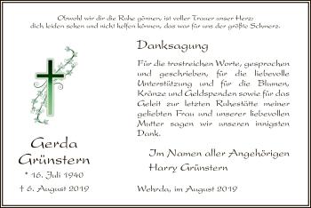 Traueranzeige von Gerda Grünstern von Hersfeld