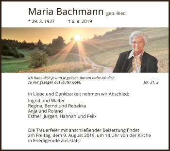 Traueranzeige von Maria Bachmann von Hersfeld
