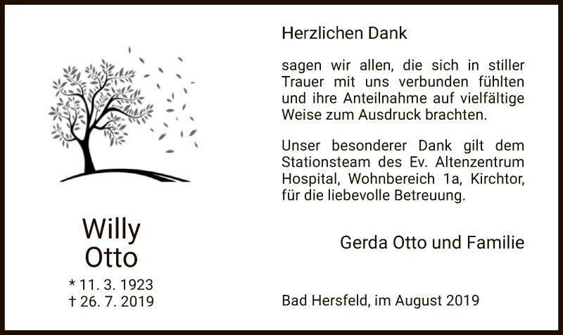 Traueranzeige für Willy Otto vom 24.08.2019 aus Hersfeld