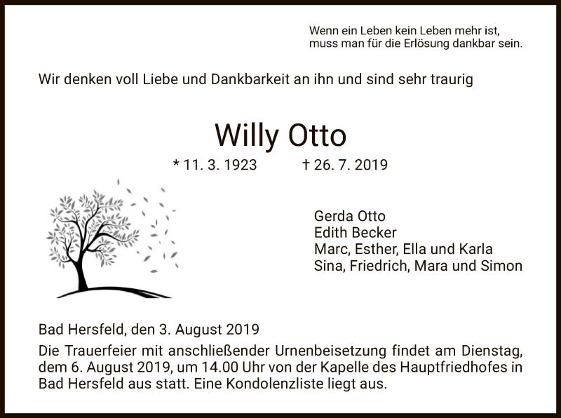 Traueranzeige für Willy Otto vom 03.08.2019 aus Hersfeld