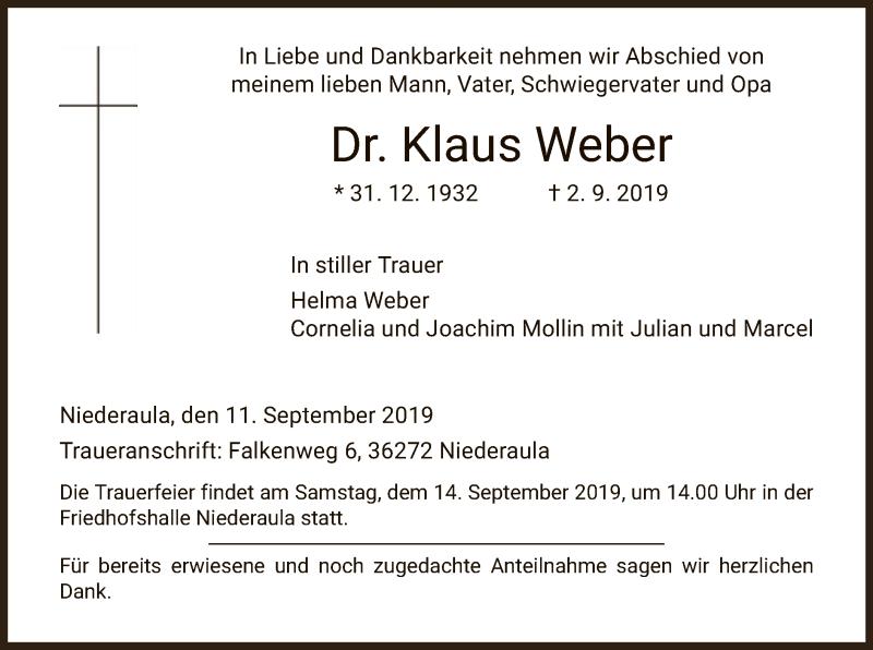 Traueranzeige für Klaus Weber vom 11.09.2019 aus Hersfeld