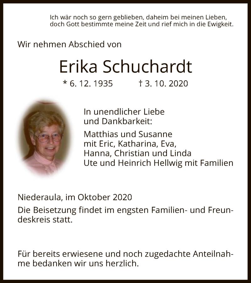 Traueranzeige für Erika Schuchardt vom 10.10.2020 aus HZ