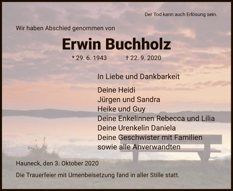 Traueranzeige für Erwin Buchholz vom 03.10.2020 aus HZ