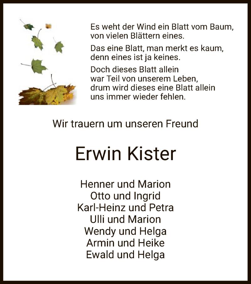 Traueranzeige für Erwin Kister vom 21.10.2020 aus HZ