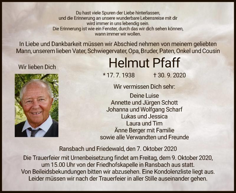 Traueranzeige für Helmut Pfaff vom 07.10.2020 aus HZ