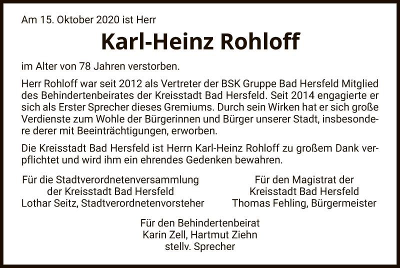 Traueranzeige für Karl-Heinz Rohloff vom 22.10.2020 aus HZ