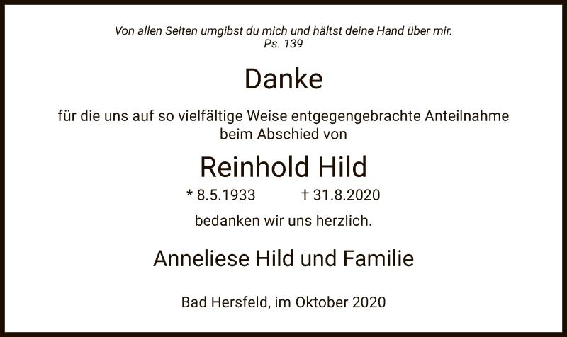 Traueranzeige für Reinhold Hild vom 03.10.2020 aus HZ