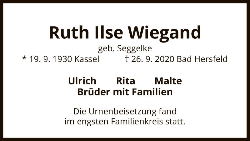 Traueranzeige für Ruth Ilse Wiegand vom 17.10.2020 aus HZ