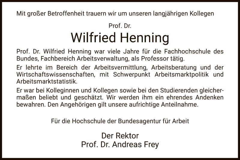 Traueranzeige für Wilfried Henning vom 16.10.2020 aus HZ