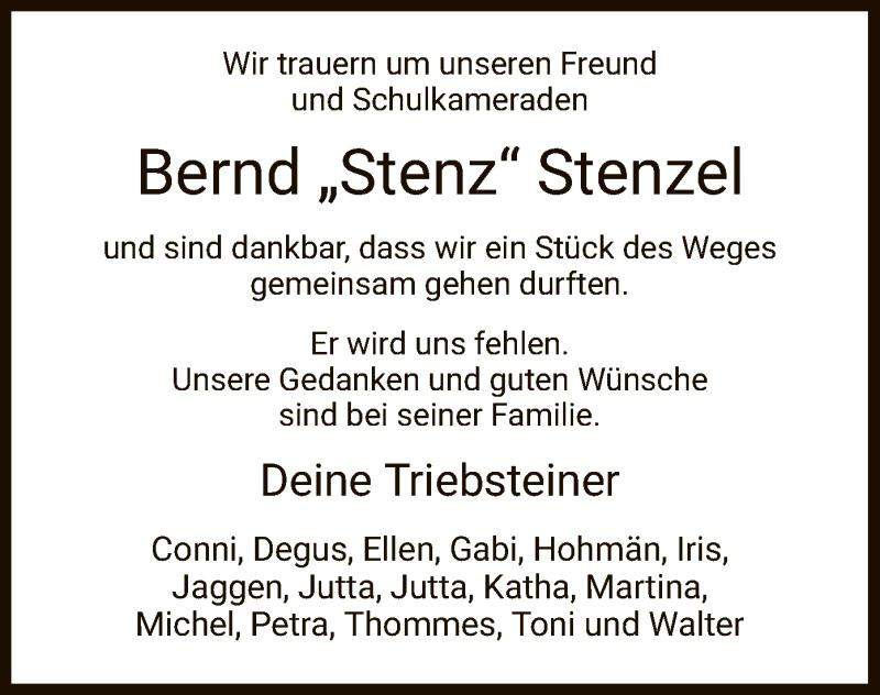 Traueranzeige für Bernd Stenzel vom 14.11.2020 aus HNA
