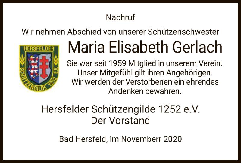 Traueranzeige für Maria Elisabeth Gerlach vom 14.11.2020 aus HZ