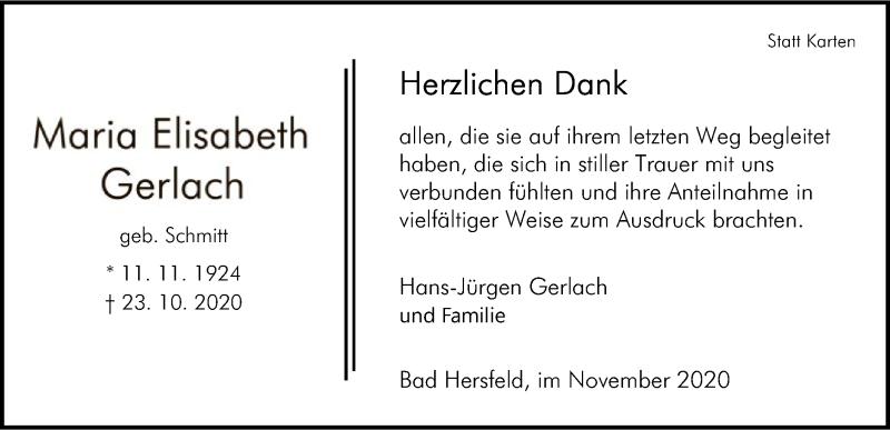 Traueranzeige für Maria Elisabeth Gerlach vom 28.11.2020 aus HZ
