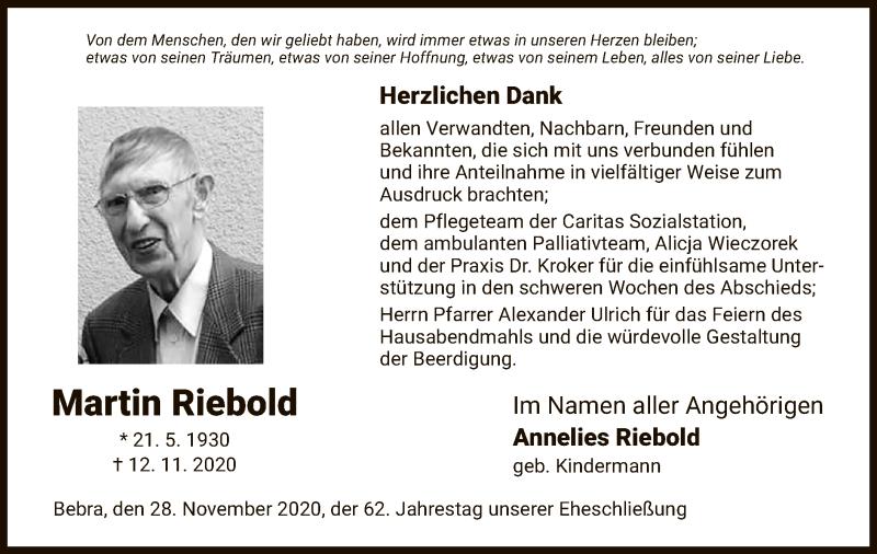 Traueranzeige für Martin Riebold vom 28.11.2020 aus HNA