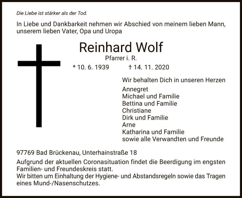 Traueranzeige für Reinhard Wolf vom 18.11.2020 aus HZ