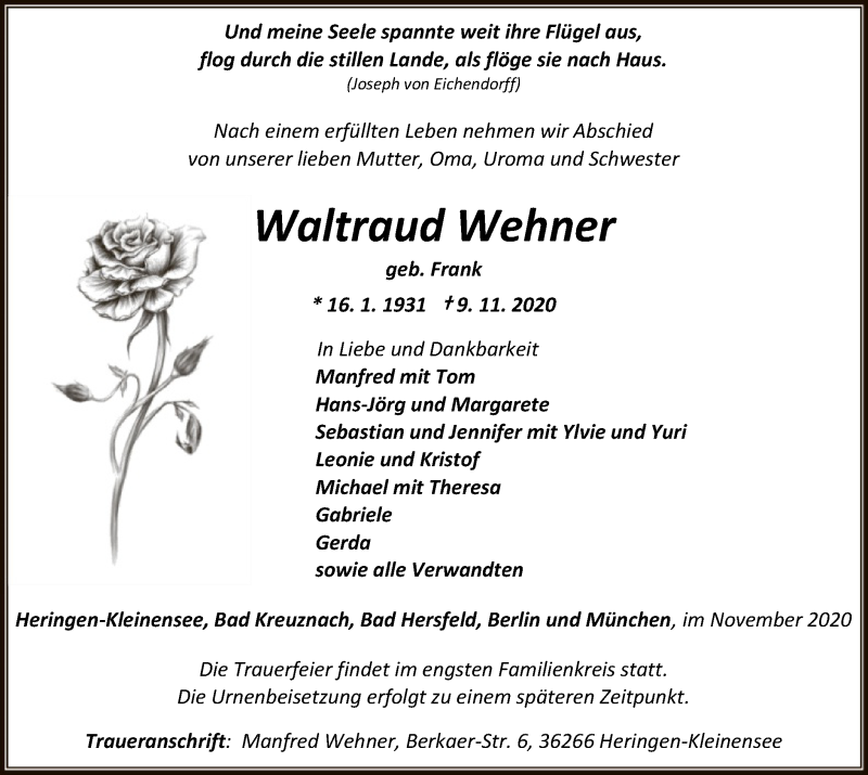 Traueranzeige für Waltraud Wehner vom 14.11.2020 aus HZ