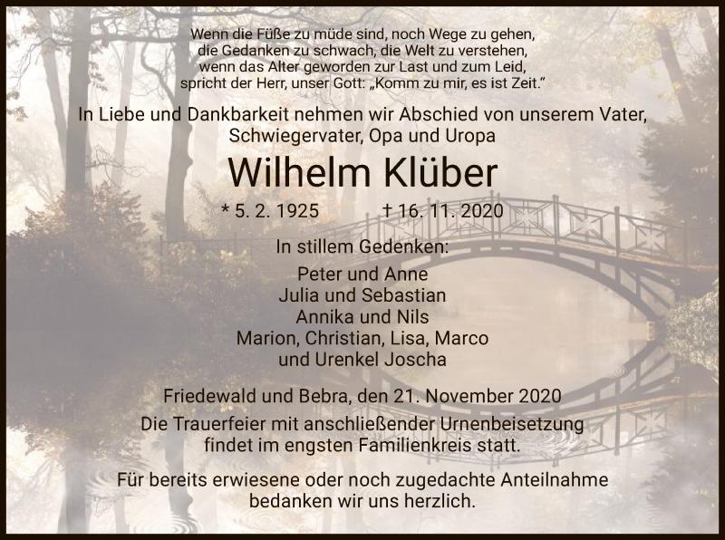 Traueranzeige für Wilhelm Klüber vom 21.11.2020 aus HZ