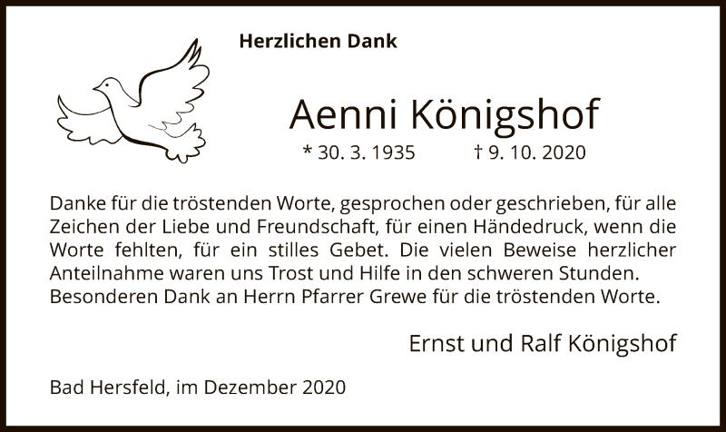 Traueranzeige für Aenni Königshof vom 05.12.2020 aus HZ