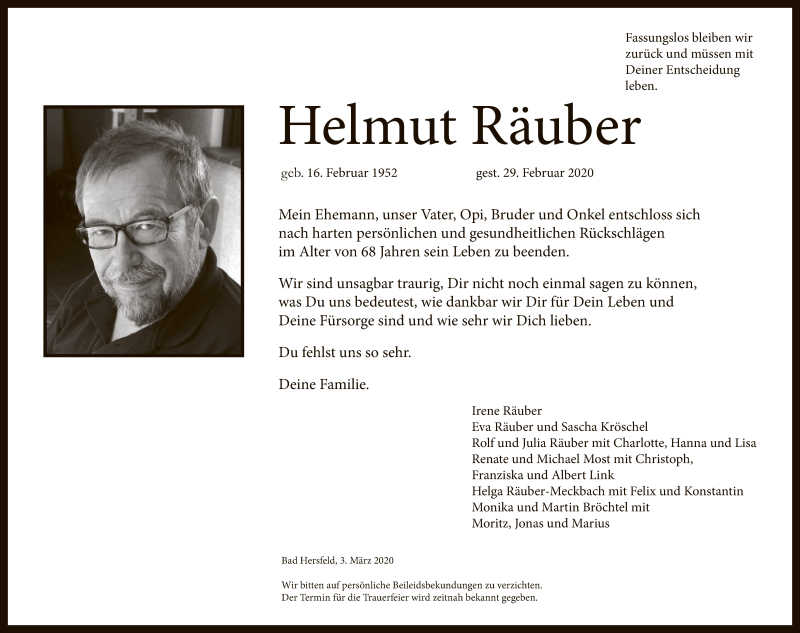 Traueranzeige für Helmut Räuber vom 03.03.2020 aus Hersfeld