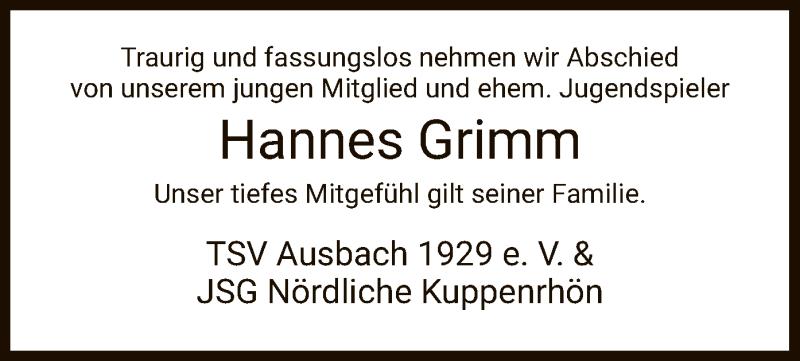 Traueranzeige für Hannes Grimm vom 14.05.2020 aus HZ