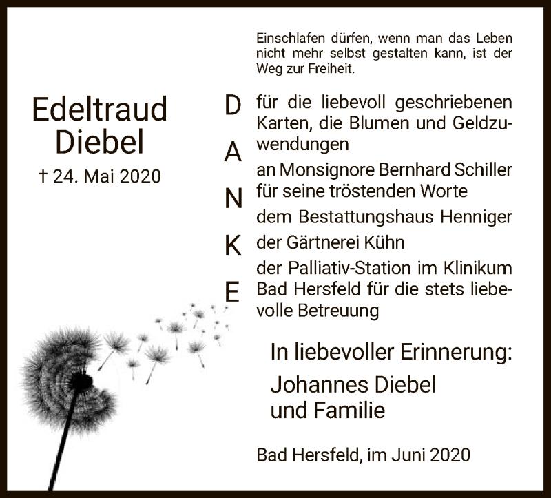 Traueranzeige für Edeltraud  Diebel vom 20.06.2020 aus HZ