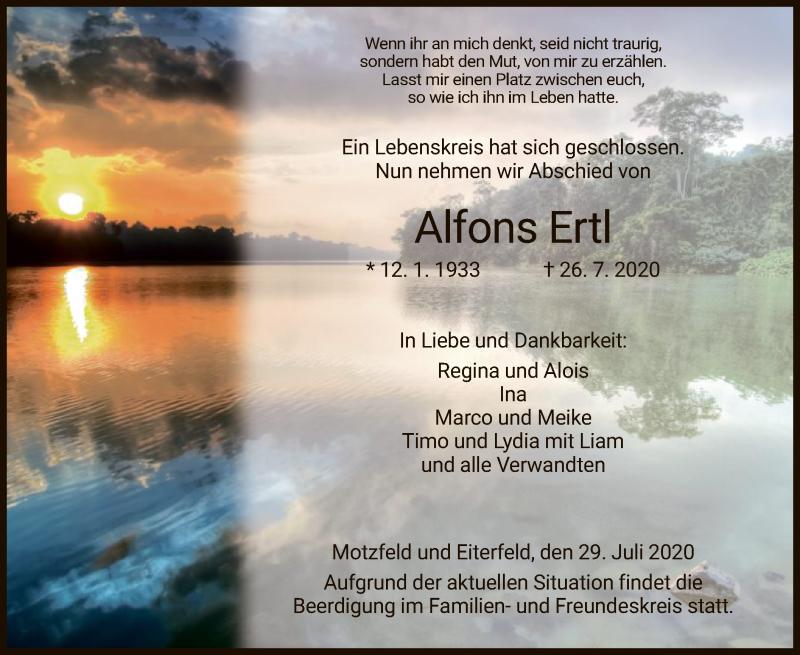 Traueranzeige für Alfons Ertl vom 29.07.2020 aus HZ