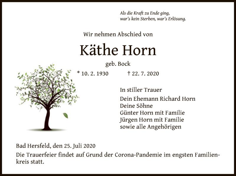 Traueranzeige für Käthe Horn vom 25.07.2020 aus HZ