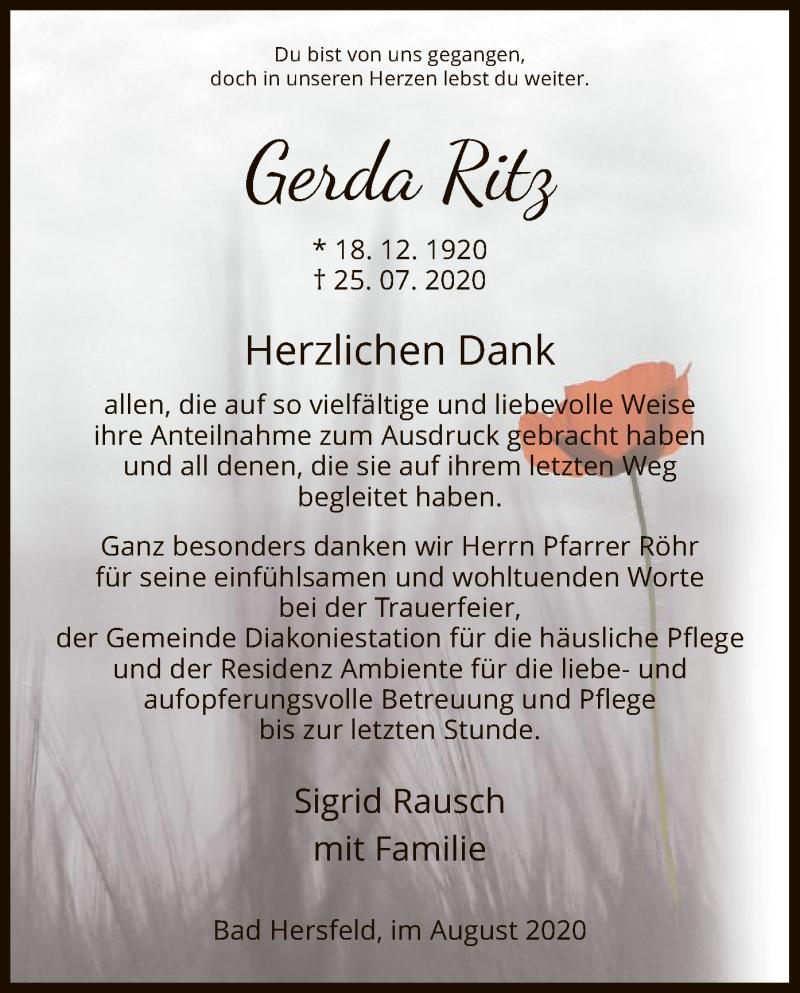 Traueranzeige für Gerda Ritz vom 08.08.2020 aus HZ