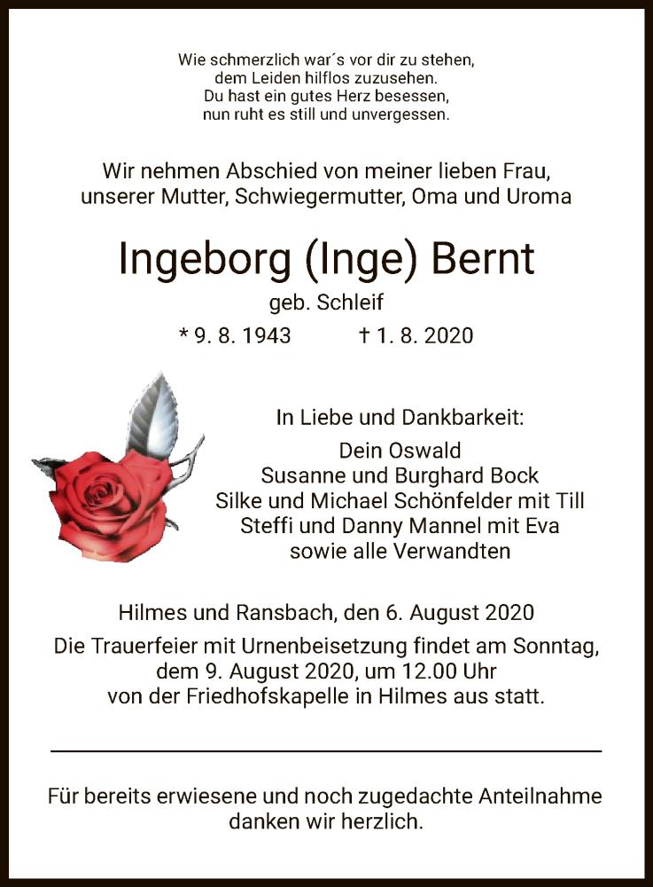 Traueranzeige für Ingeborg  Bernt vom 06.08.2020 aus HZ