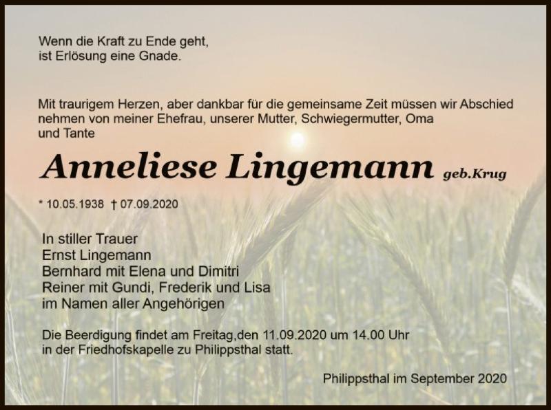 Traueranzeige für Anneliese Lingemann vom 10.09.2020 aus HZ