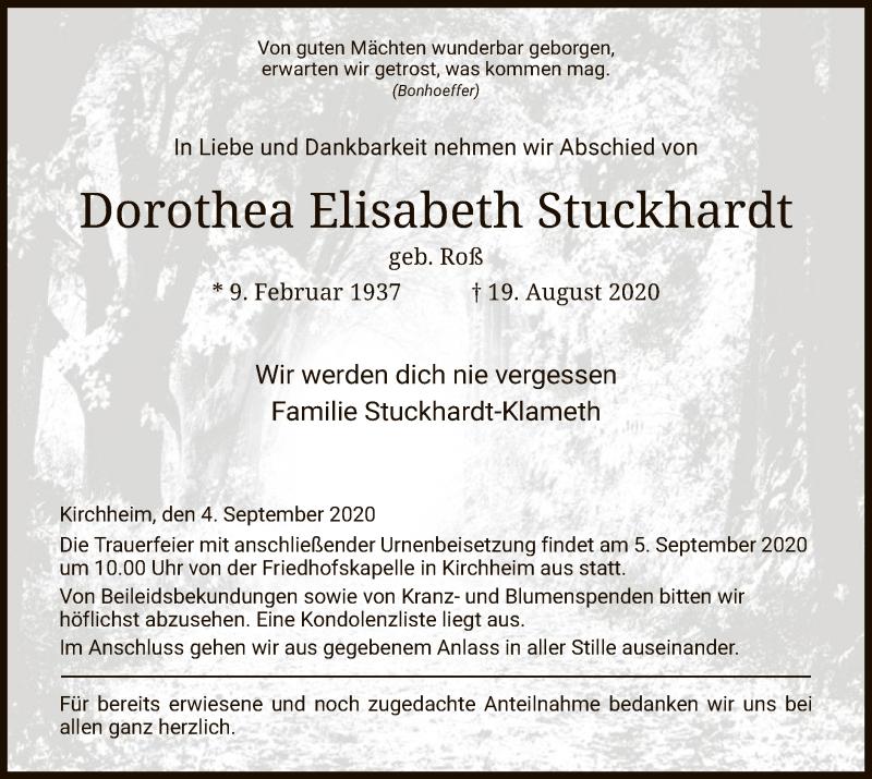 Traueranzeige für Dorothea Elisabeth Stuckhardt vom 04.09.2020 aus HZ