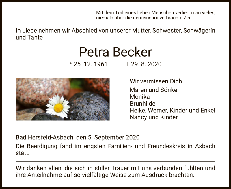 Traueranzeige für Petra Becker vom 05.09.2020 aus HZ