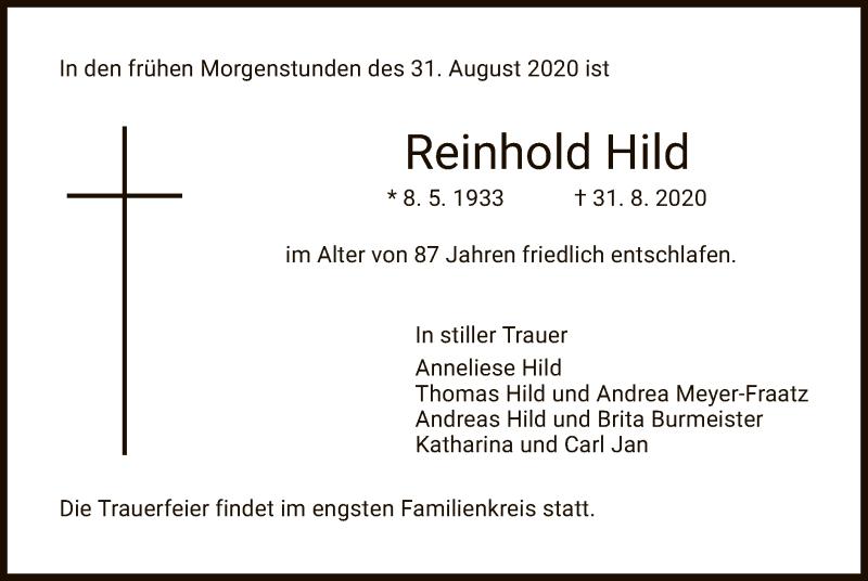 Traueranzeige für Reinhold Hild vom 12.09.2020 aus HZ