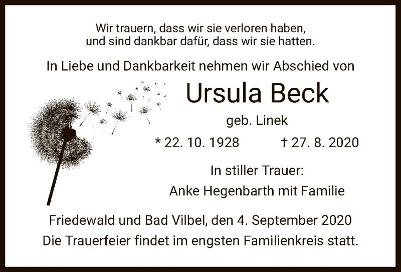 Traueranzeige für Ursula Beck vom 04.09.2020 aus HZ