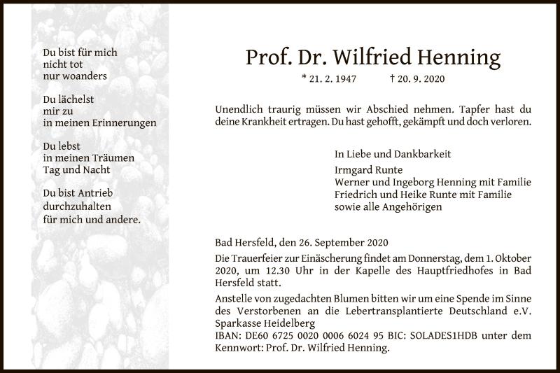 Traueranzeige für Wilfried Henning vom 26.09.2020 aus HZ