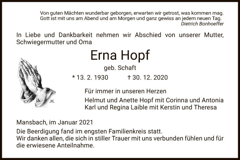 Traueranzeige für Erna Hopf vom 13.01.2021 aus HZ