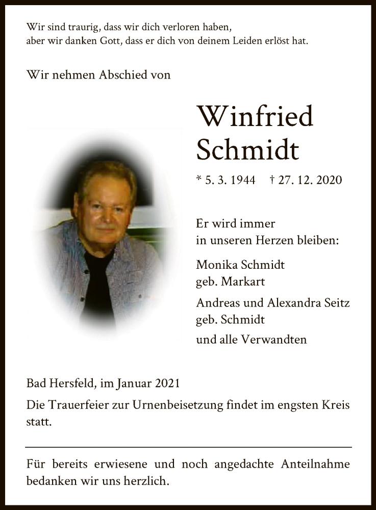Traueranzeige für Winfried Schmidt vom 09.01.2021 aus HZ