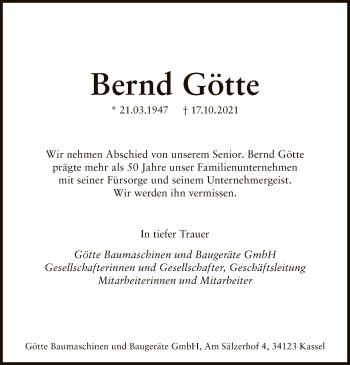 Traueranzeige von Bernd Götte von HNA