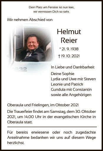 Traueranzeige von Helmut Reier von HZ