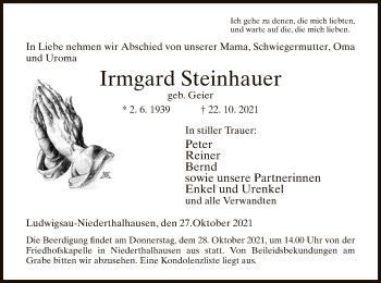 Traueranzeige von Irmgard Steinhauer von HZ