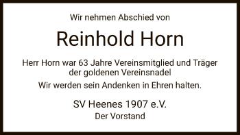 Traueranzeige von Reinhold Horn von HZ