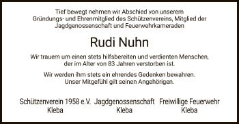 Traueranzeige von Rudi Nuhn von HZ
