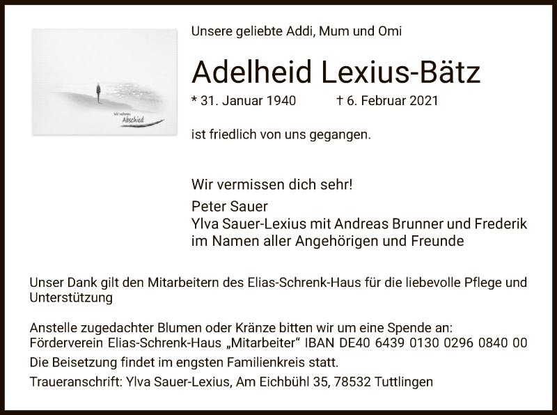 Traueranzeige für Adelheid Lexius-Bätz vom 20.02.2021 aus HZ