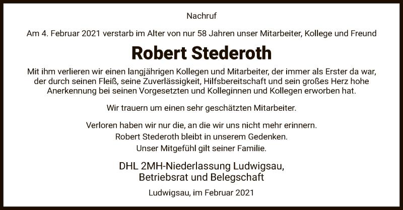 Traueranzeige für Robert Stederoth vom 20.02.2021 aus HZ